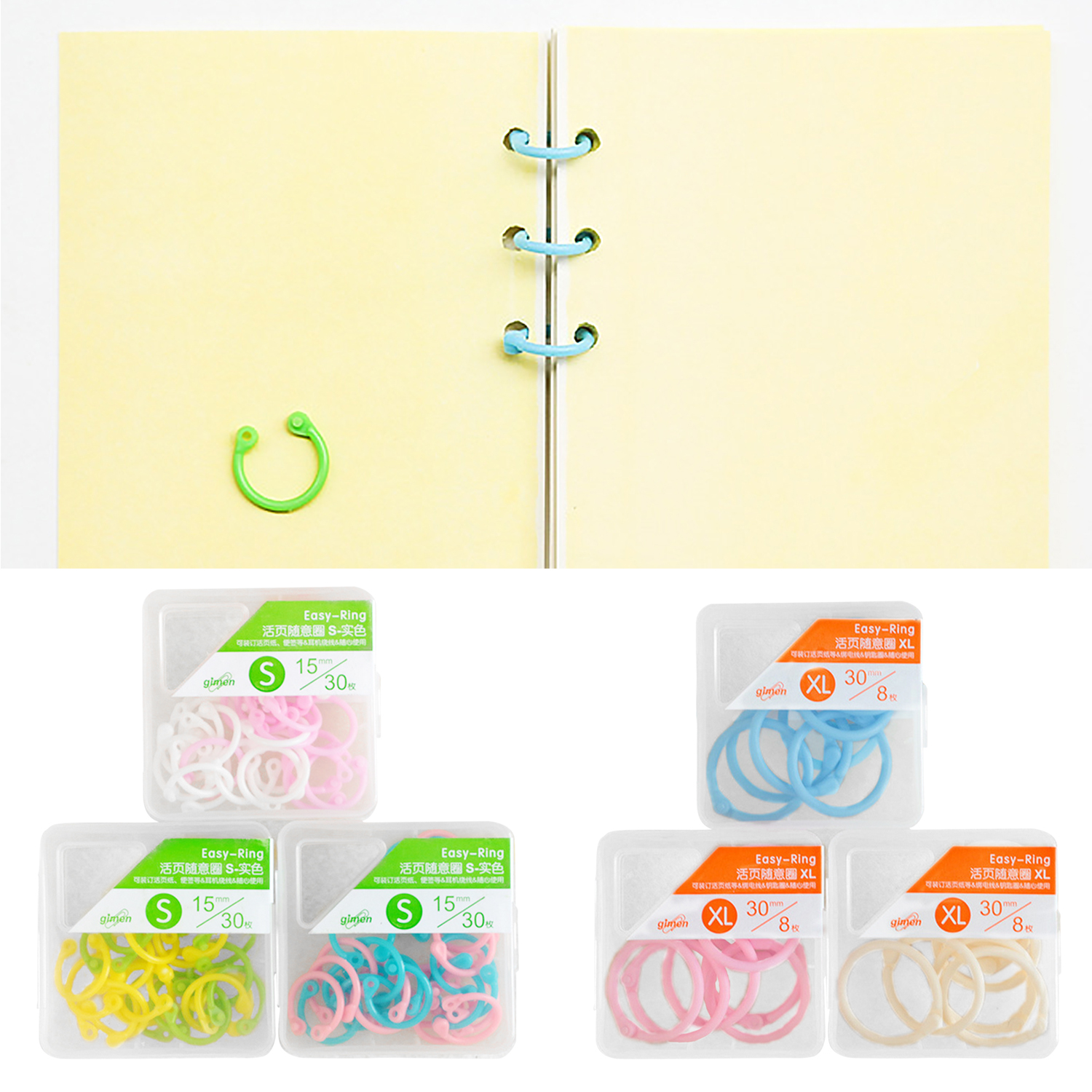 3 Packs Plastic Binder Snap Rings For Loose Leaf Paper Cards Photo Album Menu Book Home School Office Use Random Colors