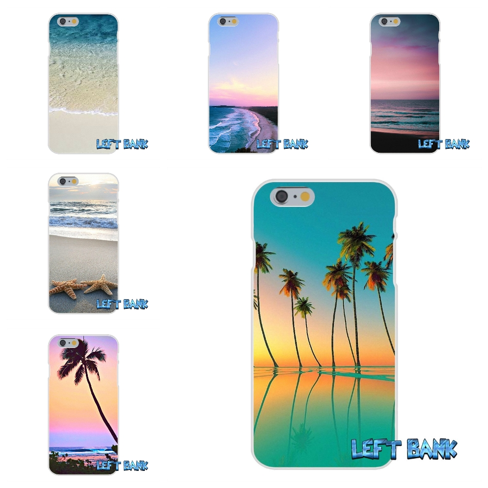 For Samsung Galaxy Note 3 4 5 S4 S5 MINI S6 S7 edge Sunset on sea Palm Tree Soft Silicone TPU Transparent Cover Case