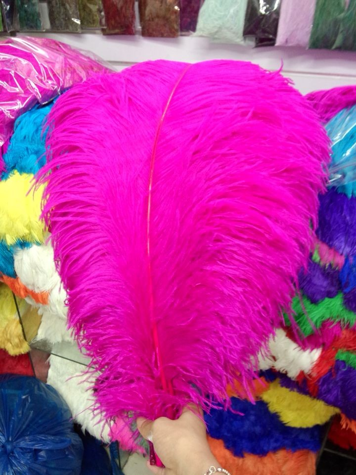 beautiful! Sell 10pcs Natural Hot Pink ostrich feathers, diy jewelry accessories, wedding decorations 50-55cm