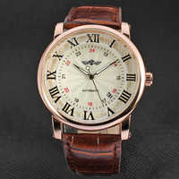 WINNER Classic Men Women WatchesRose Golden Case Mechanical Auto Calendar Self Wind Reloj Automatic Casual Leather Montre