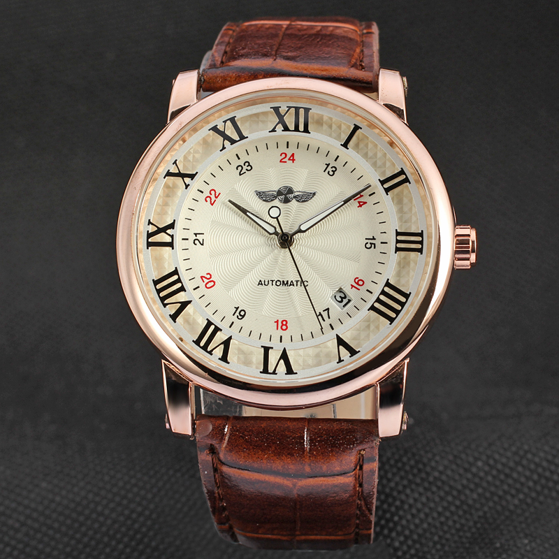 WINNER  Classic Men Women WatchesRose Golden Case Mechanical Auto Calendar Self Wind Reloj  Automatic Casual Leather Montre