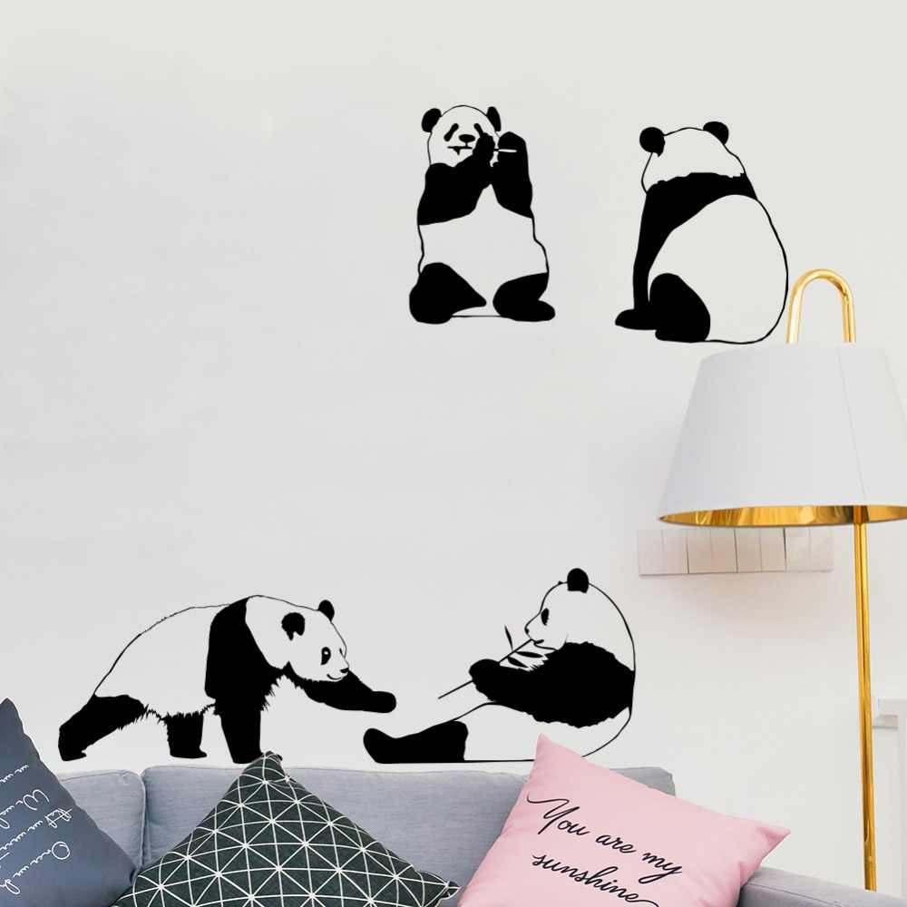 3d Lovely Animal Giant Panda Wall Stickers For Kids Baby Rooms Wallpaper Home Decor Bedroom Art Mural Children Gifts Wall Decals Aliexpress