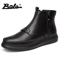 BOLE Winter New Handmade Genuine Leather Men Snow Boots Fashion Deign Slip On Keep Warm Men