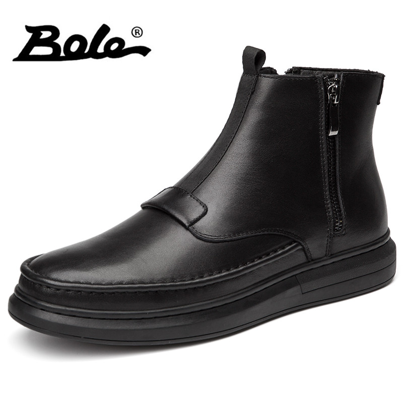 BOLE Winter New Handmade Genuine Leather Men Snow Boots Fashion Deign Slip on Keep Warm Men Ankle Boots Flats Boots Men Footwear bole handmade leather men snow boots fashion designer lace up men ankle boots keep warm men casual shoes winter flats men boots