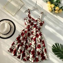 Floral Print Vintage Spaghetti Strap Mini Dress