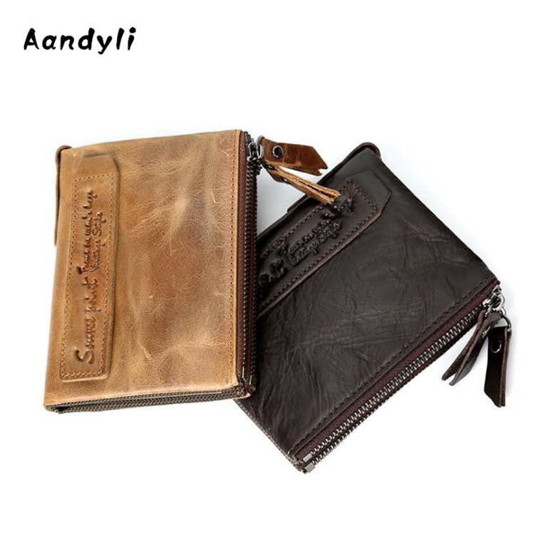 Genuine Leather Men Wallet Zipper Handmade Walets Portomonee Male Short Coin Purse Brand Perse Carteira