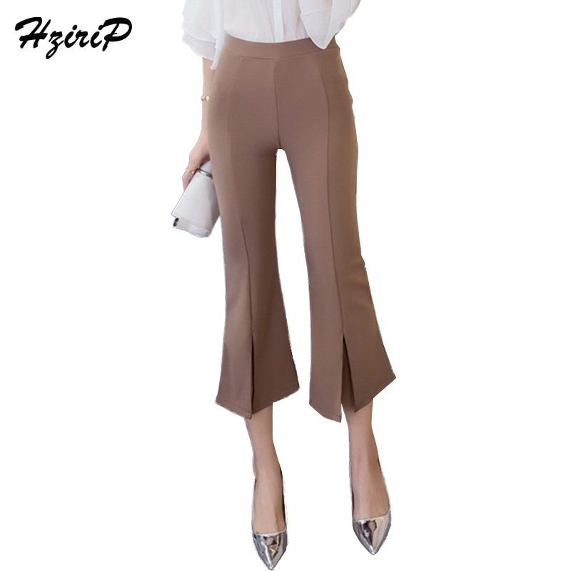 HziriP 2018 Fashion OL Casual Calf-Length   Pants   Loose Plush Elegant Trousers New High Waist Solid Flare   Pants   &   Capris   Ladies
