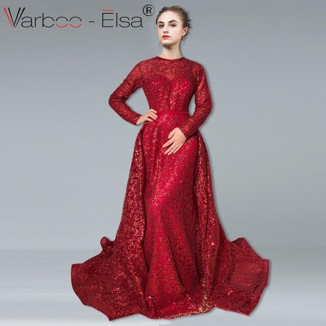90ed2ebbc VARBOO ELSA vestido de noche de manga larga de lujo desmontable tren sirena  vestido de graduación vino