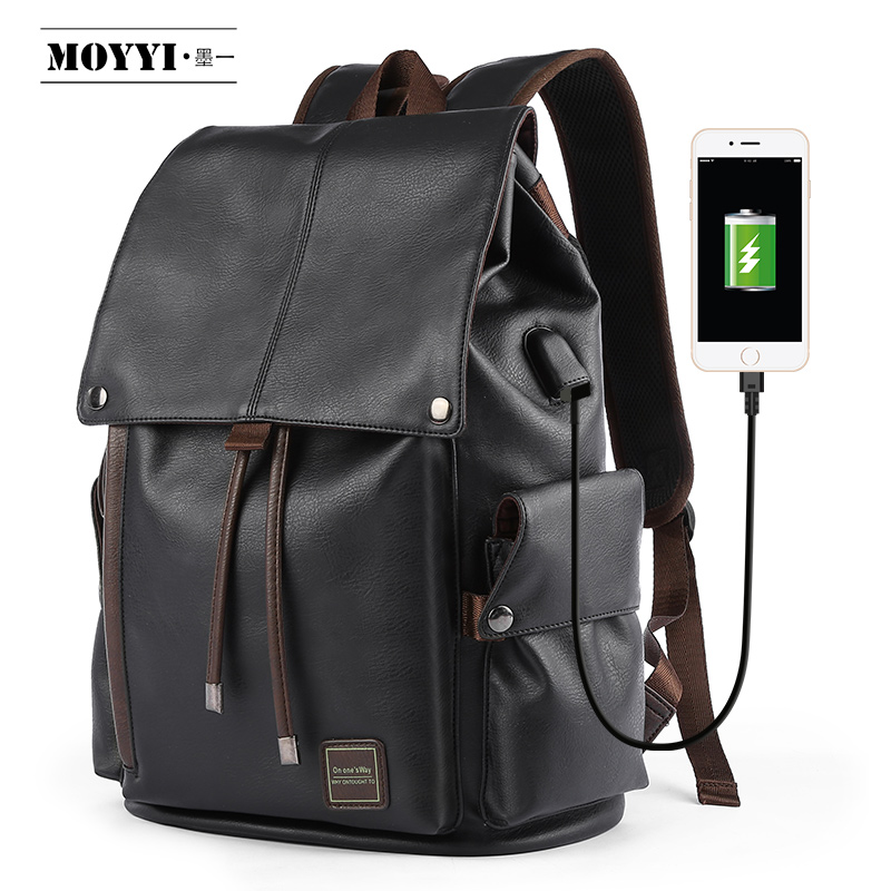 MOYYI  Famous Brand School Style Leather Backpack Bag For College Simple Design Men Waterproof  Casual Daypacks Mochila 2019