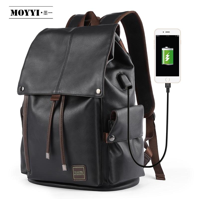 MOYYI célèbre marque sac à dos en cuir de Style scolaire sac pour collège conception Simple hommes imperméable à décontracté casual Daypacks mochila 2019