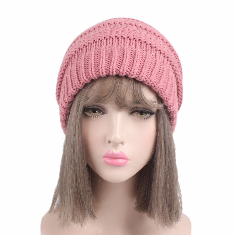 Sale Women Multicolors Knitted Ponytail Holder Perforated Braid Hat Winter Casual Wool Female Outdoor Ski Skullies
