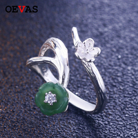 Green stone Peach blossom Ring for women Top quality S925 sterling silver Branch Resizable party ring Girls gift Jewelry Bague