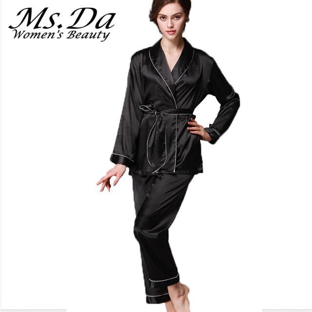 Conjunto de 2 peças de Seda Pijamas Fantasias: Casaco + Calças Conjuntos de Pijama Mujer 2016 Nova Pijama Camisola de Seda Das Mulheres Do Vintage pijamas Femme