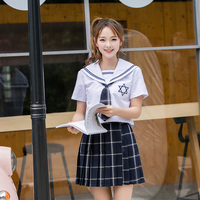 UPHYD Hexagonal Star Embroideried School Uniform College Summer Sailor Uniforms Student Cosplay Suit S-XL