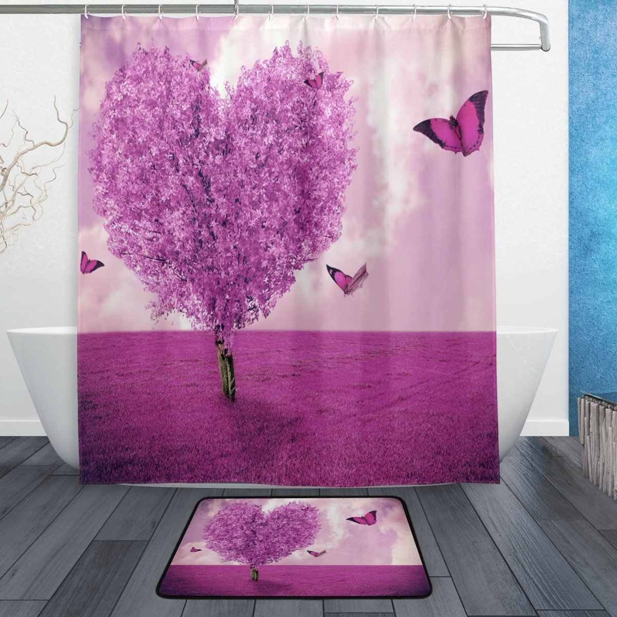 Purple Tree Heart Love Butterfly Shower Curtain and Mat Set, Romantic Valentine's Day Waterproof Fabric Bathroom Curtain Modern