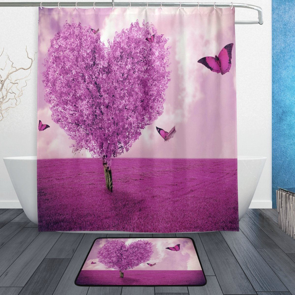 Purple Tree Heart Love Butterfly Shower Curtain and Mat Set, Romantic Valentines Day Waterproof Fabric Bathroom Curtain