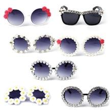 Round Sunglasses Rhinestone Flower Vintage Retro Beach Party