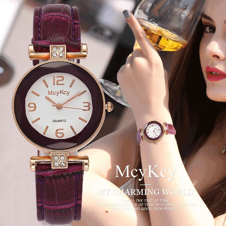 McyKcy Brand Women Rhinestone Watch Luxury Fashion Leather Strap Quartz Watch Rose Gold Crystal Watch Clock Relogio Feminino swiss fashion brand agelocer dress gold quartz watch women clock female lady leather strap wristwatch relogio feminino luxury