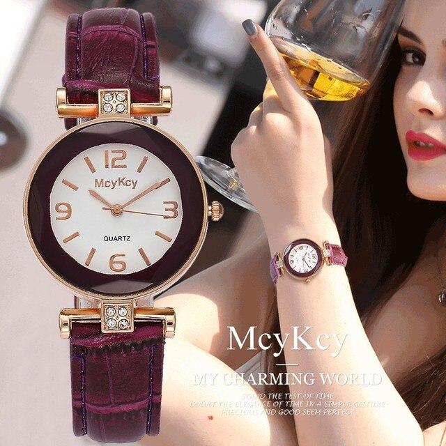 McyKcy Brand Women Rhinestone Watch Luxury Fashion Leather Strap Quartz Watch Ro