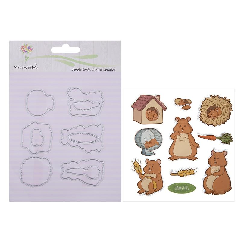 Little Mouse/Rabbit Cutting Dies+Silicone Stamp Stencil for Scrapbooking Decorating Craft Album DIY Paper Cards Handicraft Tools metal cutting dies and stamps diy scrapbooking card stencil paper craft handmade album handbook decoration
