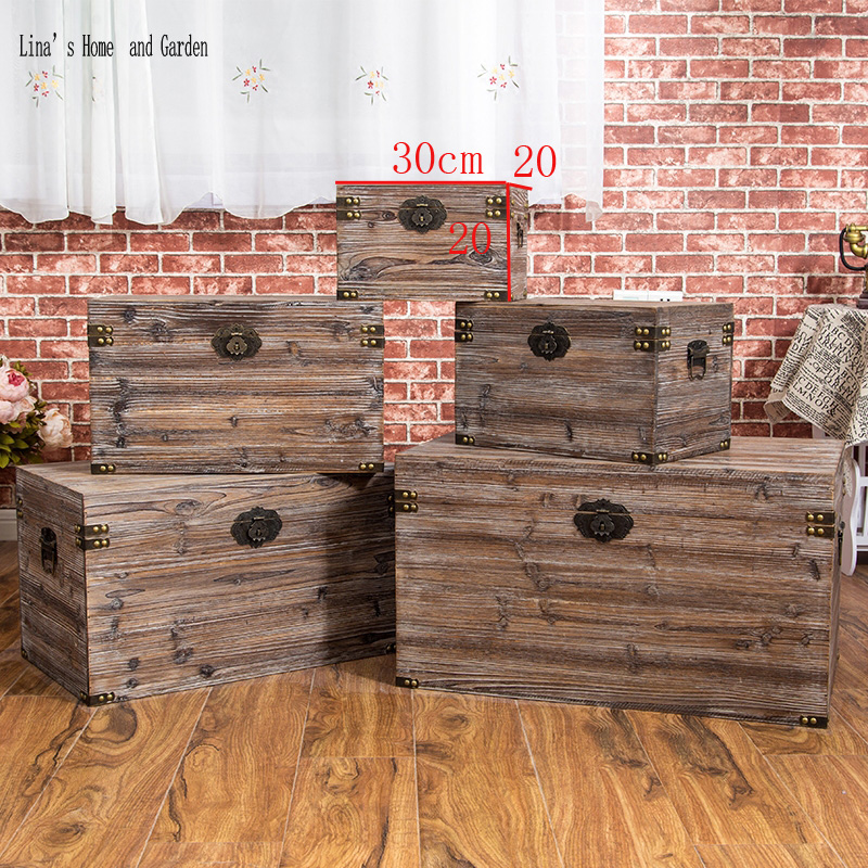 solid hand made antique wooden storage box