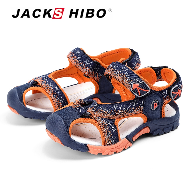 JACKSHIBO Summer Sandals For Boy Beach Shoes Close Toe Protection Cut-out Barefoot Sandals Non-slip Soft Sandals Middle Child