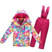Детская Лыжный Костюм Зимой Минус 30 Градусов Толстые Теплые Водонепроницаемый Ветрозащитный Девушки Комплект Одежды Мальчиков Открытый Хлопок Спортивная Одежда