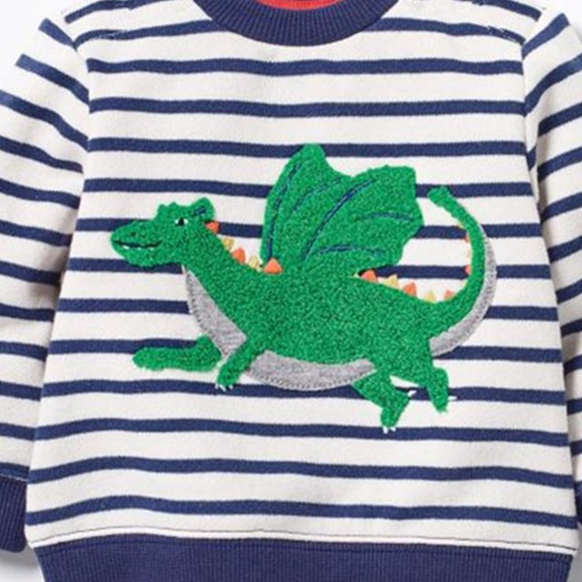 New 2017 Brand Quality 100% Terry Cotton Boys sweatshirt baby Clothes Children Clothing Dinosaur printing boys t shirts for kids
