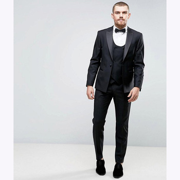 Traje de hombre Gris Carbón esmoquin hecho a medida para hombres esmoquin con solapa de pesking trajes de boda para hombres (chaqueta + Pantalones + chaleco)