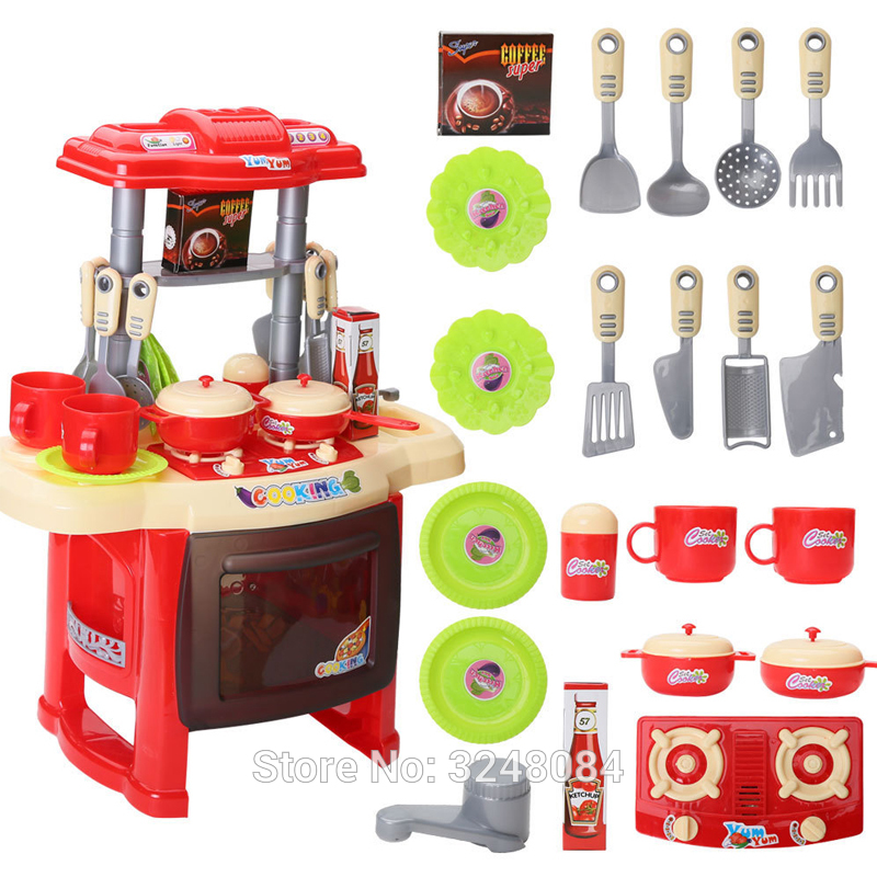 New 2 Types 1 Set Kids Kitchen Set Children Toy Beauty Cooking Pretend Play Toys With Light Sound Funny Toys For Child Pretend Play Toys Play Toykids Kitchen Set Aliexpress