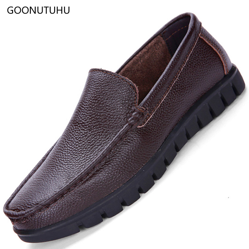 Mens casual shoes slip-on loafers big size non-slip Genuine leather shoe man father Middle-aged and old platform shoes for menMens casual shoes slip-on loafers big size non-slip Genuine leather shoe man father Middle-aged and old platform shoes for men