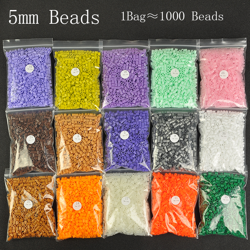 1000 Beads/Bag 5mm Perler Artkal Beads 37 Colors Available Material Bag DIY Cartoon Making Tube Colorful Beads Educational Toys