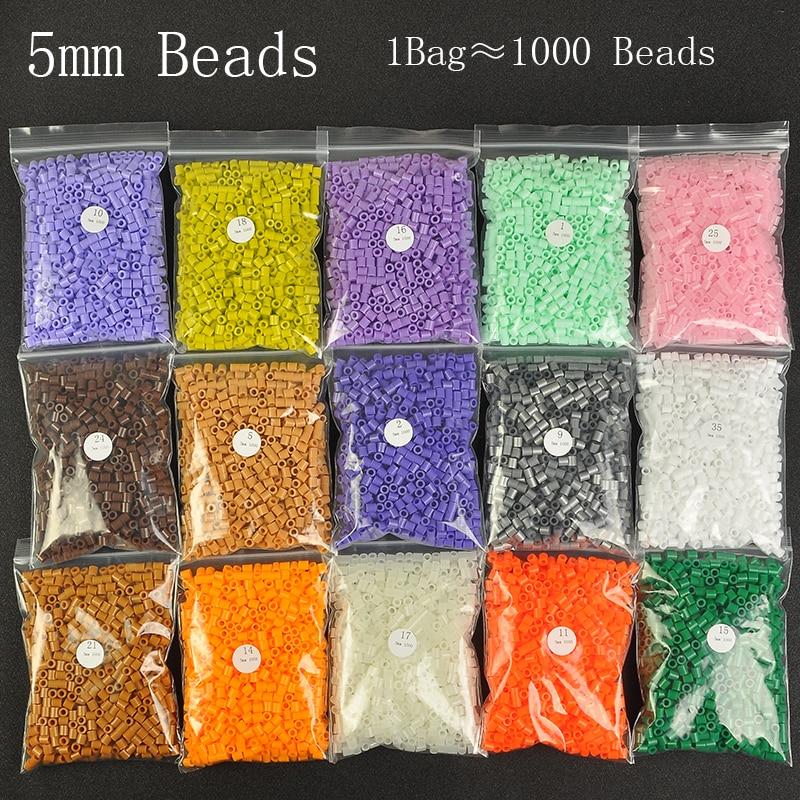 1000 Beads/Bag 5mm Perler Artkal Beads 37 Colors Available Material Bag DIY Cartoon Making Tube Colorful Beads Educational Toys