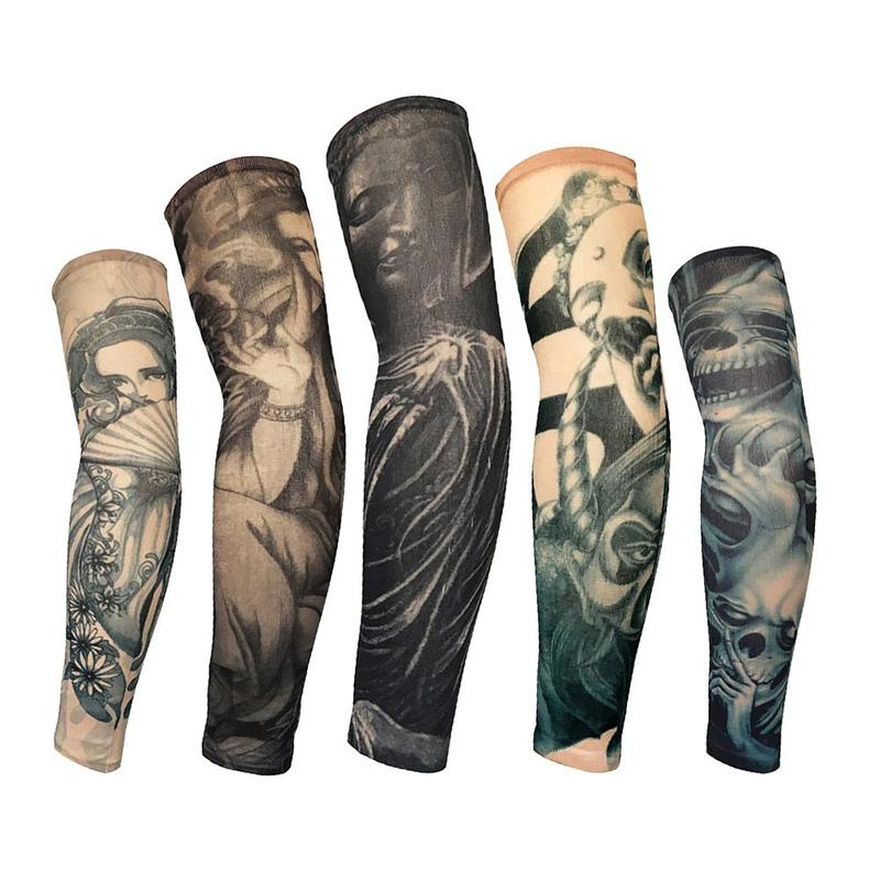 1PC High Elastic Tattoo Sleeve Unisex Men Women Cool Arm Warmers UV Skin Protection Sports Outdoor Cycling Stretchy Oversleeve