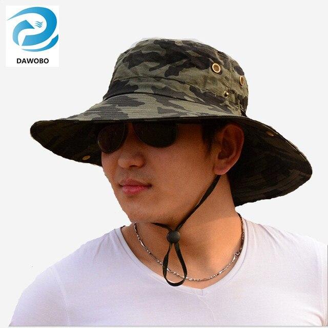 3705aad0 € 9.42 16% de DESCUENTO Hombres deportes al aire libre transpirable  camuflaje pesca cap hombres sombreros de sol ocio grandes eaves parasol  pescador ...