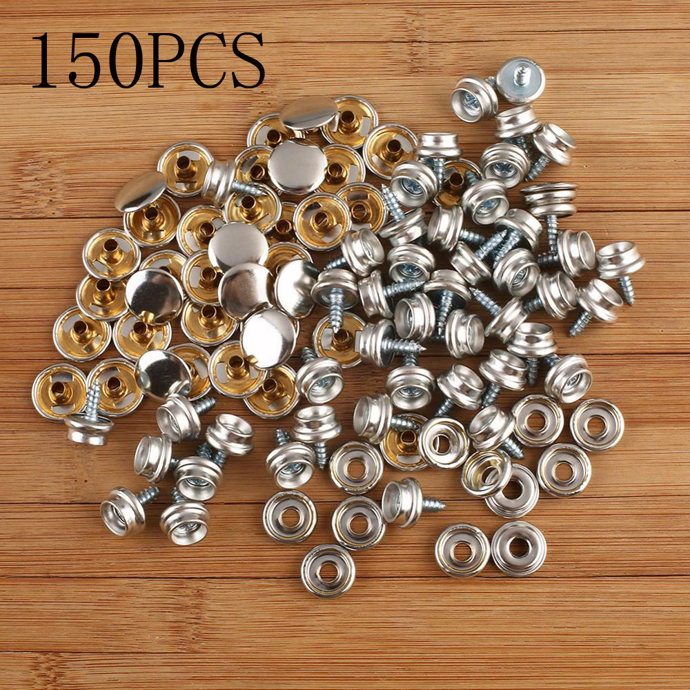 150PCS Stainless Steel Boat Marine Canvas Fabric Snap Cover Button /& Socket J5S