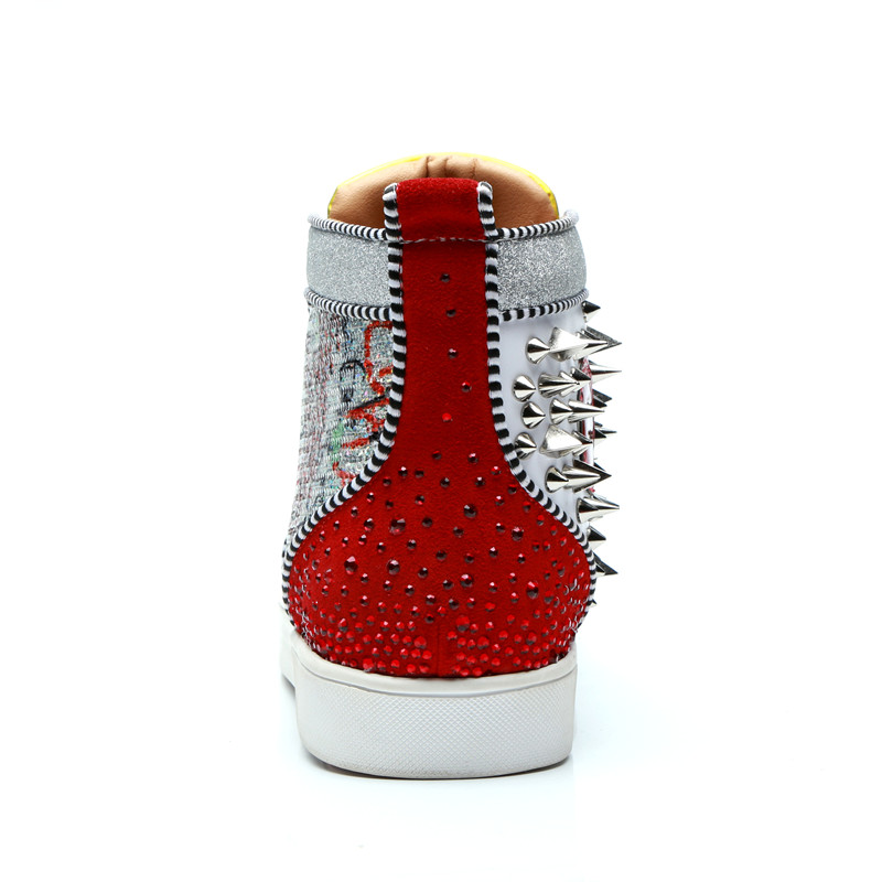 Qianruiti 2019 Men Graffiti Painting Spike Sneaker Lace up Rivet Flat High  Top Glitter Shoes Men Runway Chaussure Hommes-in Men s Casual Shoes from  Shoes on ... 127c9f0e5cf0