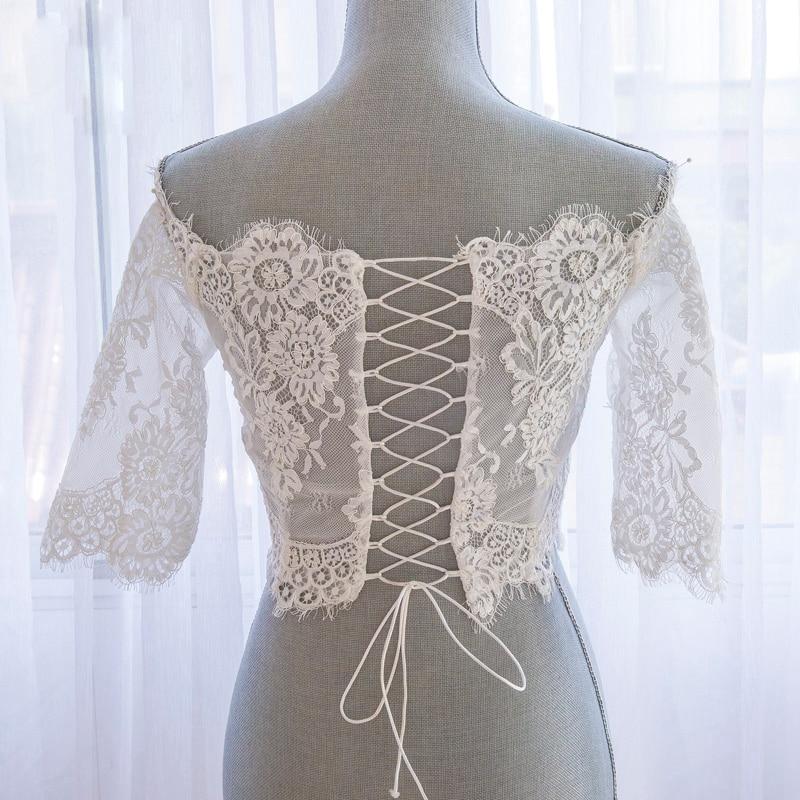 Romantisk Tulle Bolero Bröllopshalva Ärm Lace Off Shoulder Bröllop - Bröllopstillbehör - Foto 4