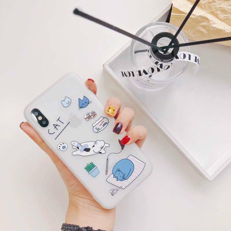 ProElite Cute Cartoon Cat Case for iPhone X 6 6S 8 7 Plus INS Painted Soft TPU Matte Shell Ultra Slim Full Body Back Cover Capa