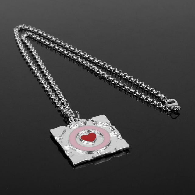Women Girls Heart  accessories Jewelry Choker Necklace Metal Portal companion cube necklace Square Heart Pendant Necklace
