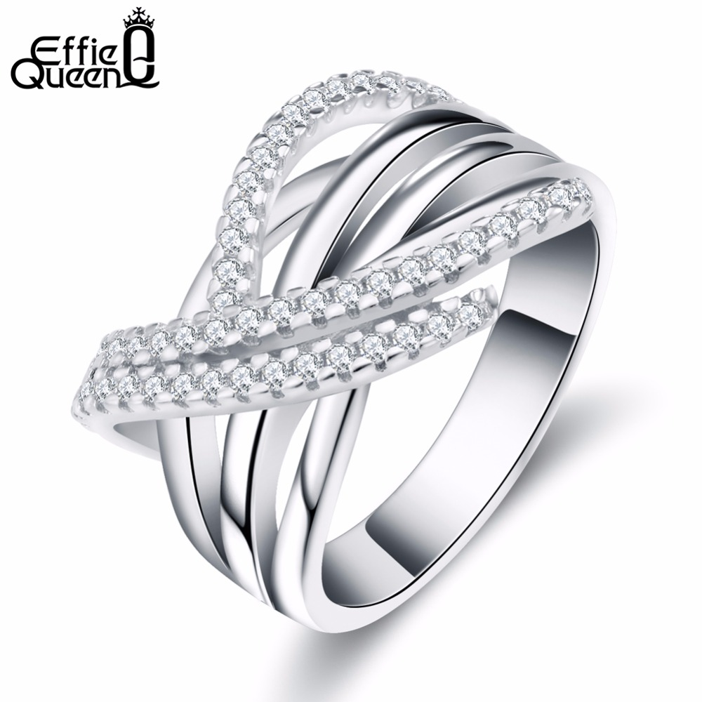 Effie Queen Unique Angel Wings Styling Rings Micro Zircons Paved Luxury Shining Finger Ring Fashion Women Jewellery DR82