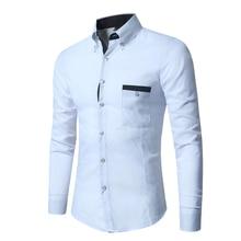2018 Dress Shirt New Listing Mens Brand Business Long Sleeve Pocket White Casual Slim camisa masculina