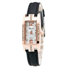 Simple Leather Square Small Dial Women Watch Fashion Rhinest