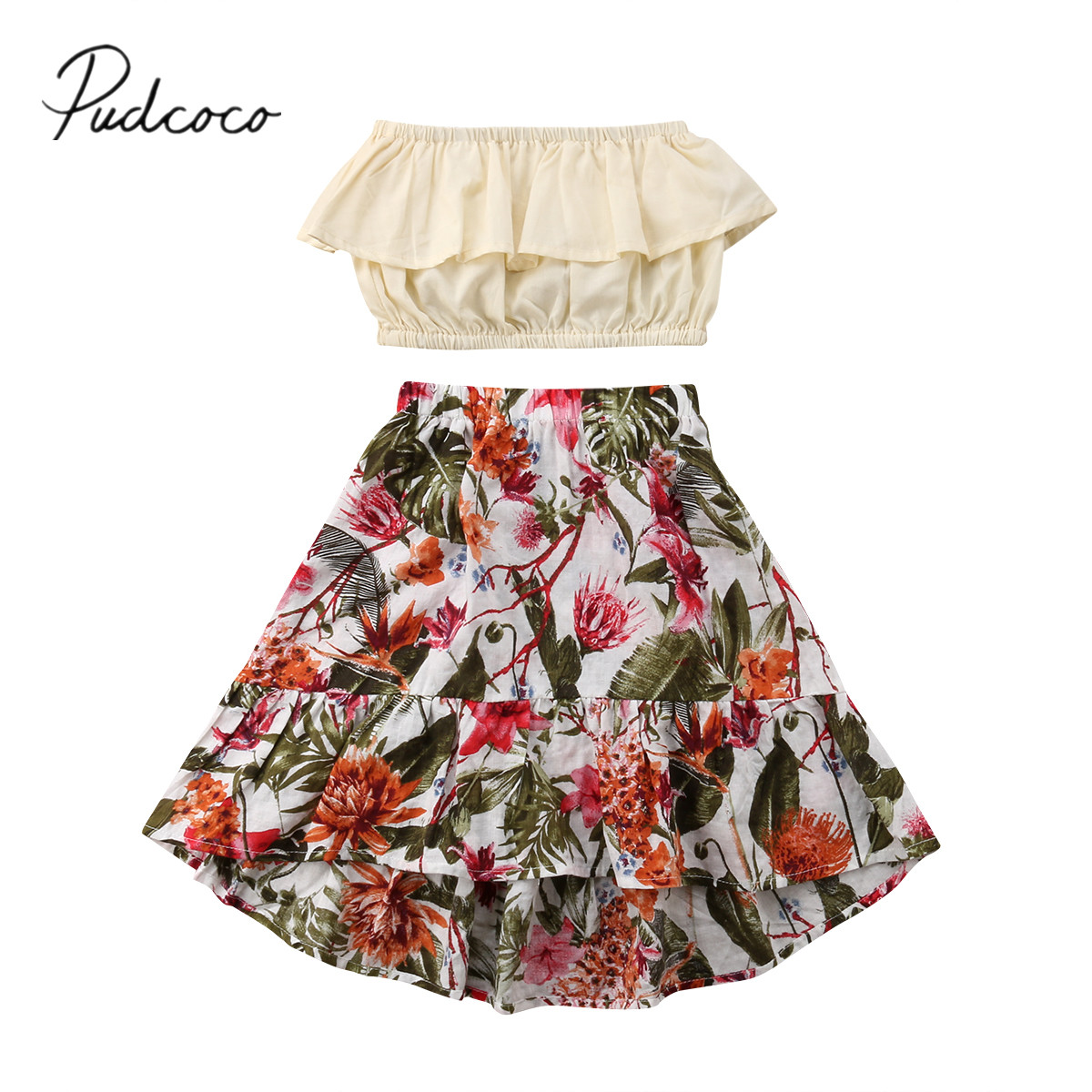 2018 Brand New Infant Toddler Child Kid Baby Girl Summer Clothes Chiffon Crops Short Top + Floral Skirt Outfit 2PCS Sets 1-7T svesta платье svesta r349lil лиловый page 3 page 3 page 1