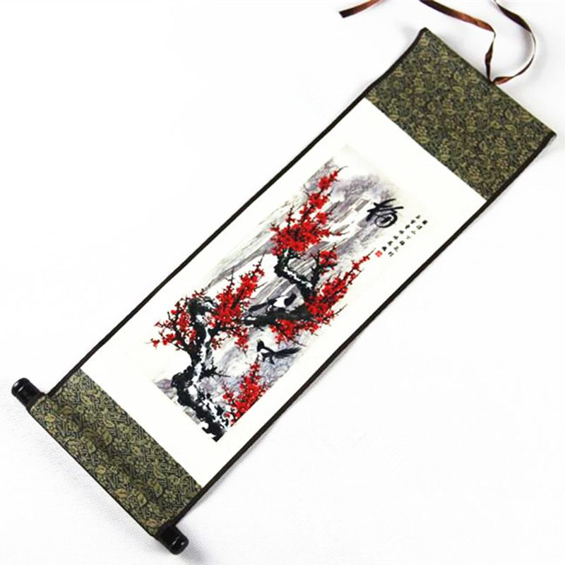 Chinese Style Ink Silk Scroll Painting Living Room Wall Picture Home Decoration National Wind Handmade Art Special Gifts