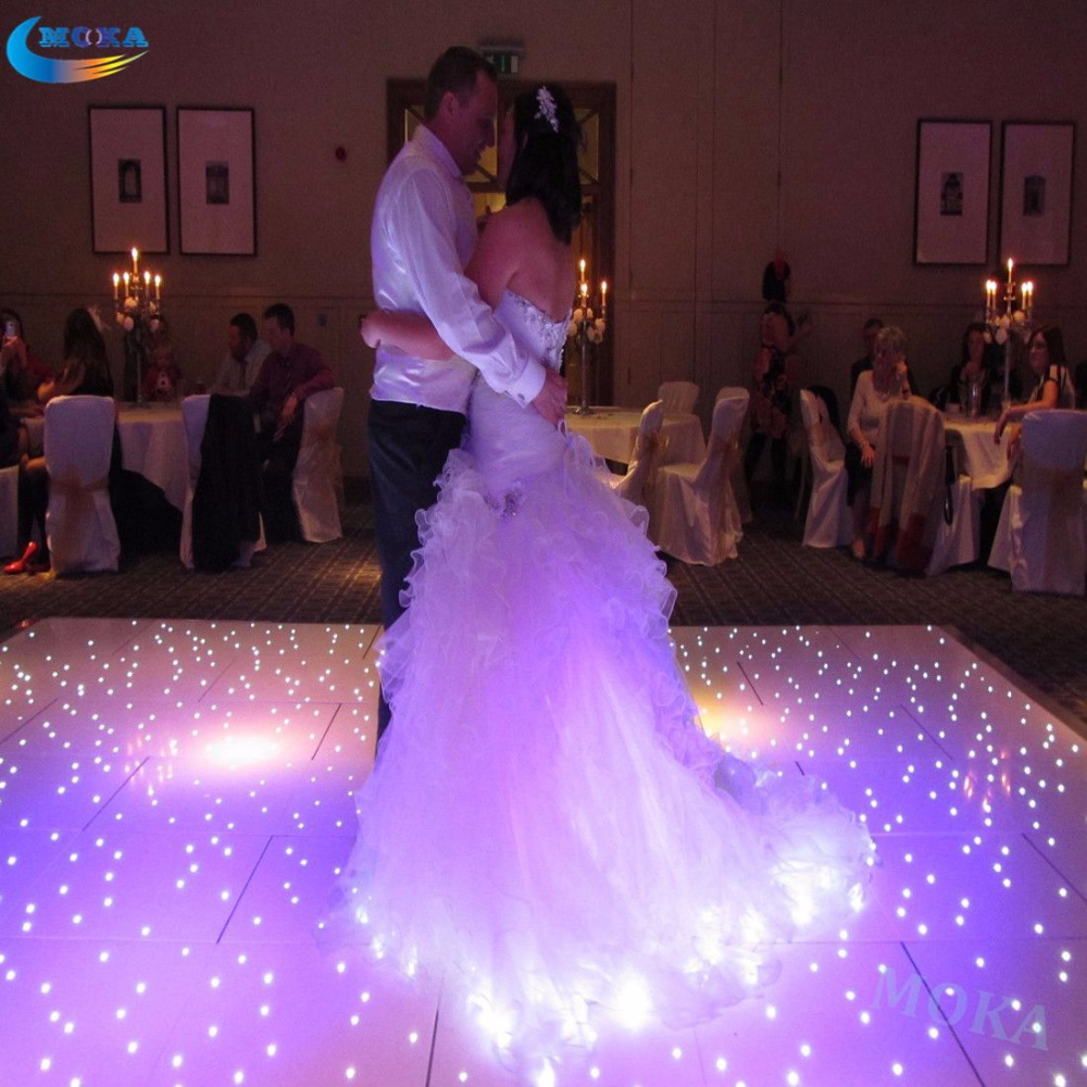 16*16 Feet led dance floor white tile Star effect Wedding Led Twinkling Dance Floor for club party Color changing Floor lights