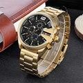 Relojes de lujo de diseño famoso Skone para hombre, reloj de cuarzo de marca de negocios, cronógrafo masculino, reloj de pulsera de oro para hombre a prueba de agua
