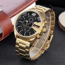 Skone Beroemde Ontwerp Luxe Horloges Mannen Zakelijke Merk Quartz Klok Man Chronograaf Waterdicht Mannen Gouden Polshorloge