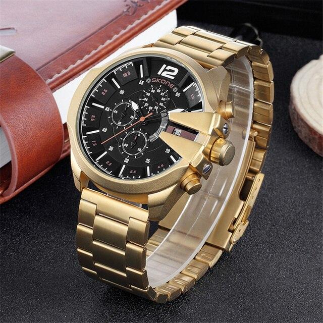 Skone relojes de lujo para hombre, de cuarzo, de negocios marca, resistente al agua, con cronógrafo, dorado