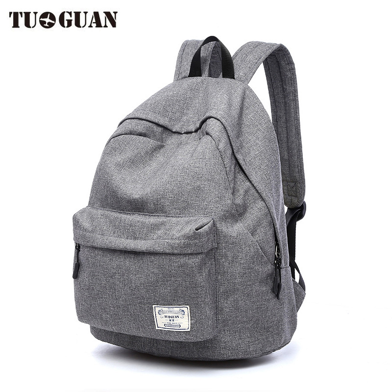 TUGUAN Canvas Men/Women Backpack Student School Bags for Teenager Girls Boy Travel Back Pack Rucksack Bagpack Schoolbag Female 14 15 15 6 inch flax linen laptop notebook backpack bags case school backpack for travel shopping climbing men women